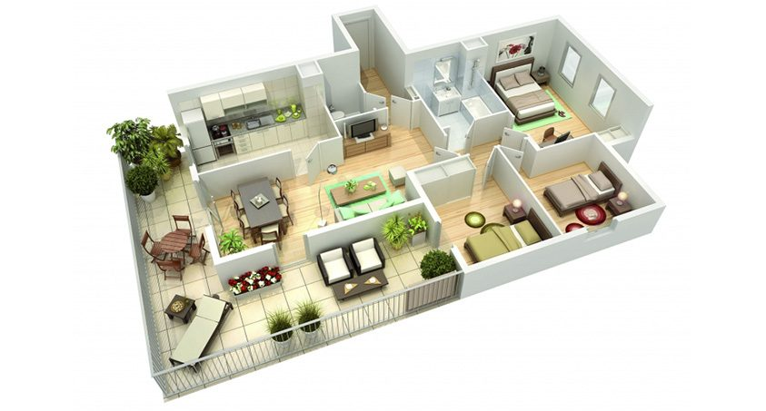 Plan 3d for Plan appartement 3d